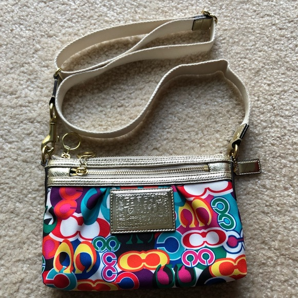 8a9b94e369 Coach Handbags - Coach Poppy Multi-color Crossbody with Gold
